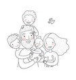 a happy family parents with children cute vector image vector image