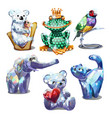 a set of animal figurines of faceted gems isolated vector image vector image