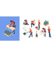 agriculture isometric farmers and gardeners vector image