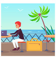 business travelling at port vector image
