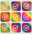 Check mark sign icon Checkbox button Nine buttons vector image vector image