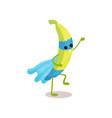 cheerful cartoon character of superhero banana vector image vector image
