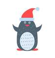 closeup of penguin wearing hat vector image vector image