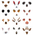 cute animal masks video chat application effect vector image vector image