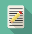 Document flat icon with a pen vector image vector image