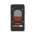 fingerprint on smartphone vector image vector image