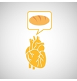 food healthy heart bread concept design icon vector image