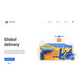 global delivery landing page warehousing business vector image vector image