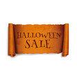 halloween sale text on scroll greeting ribbon vector image