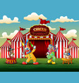 happy clowns and rabbits performance on the arena vector image vector image