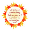 inspirational quote inside autumn leaves vector image