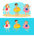 kids with animals swimming rings vector image vector image
