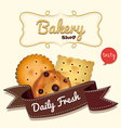 Logo design with cookies and text vector image