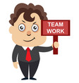man with team work sign on white background vector image vector image