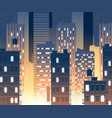 modern buildings at night urban background vector image vector image