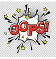 ooops comic sound comic speech bubble halftone vector image vector image