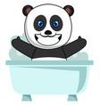 panda taking bath on white background vector image vector image
