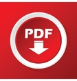 PDF download icon on red vector image vector image