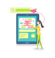 person using online smartphone tablet vector image vector image