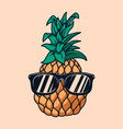 pineapple with sunglasses in engraving style vector image