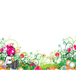 popart floral background with emo kid vector image vector image