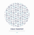 public transport concept in circle vector image vector image