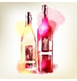 Red and white wine in bottles Watercolor splashes