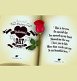 red rose with open of diary background vector image vector image