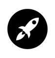 rocket icon in white on black circle rocket symbol vector image vector image