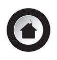 round black white button - home with chimney icon vector image