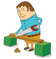 Sawing wood vector image vector image