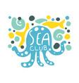 sea club logo summer travel and sport hand drawn vector image