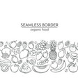 seamless borders with hand drawn fruits vector image vector image