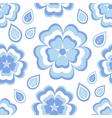 Seamless pattern with blue flowers sakura vector image vector image