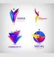 set human man people group logos vector image vector image