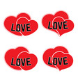 set of four red hearts on a white background vector image vector image