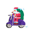 smiling santa delivering gifts on scooter vector image vector image
