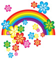 Spring Background with Rainbow and Flowers vector image