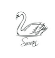 swans outline icon vector image vector image