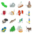 Sweden icons set isometric 3d style vector image vector image