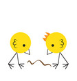 two angry chicks fighting for a worm vector image
