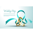 Wedding rings with ribbon invitation card vector image vector image