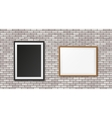 White brick wall with frames vector image vector image