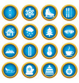 winter icons blue circle set vector image vector image