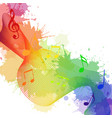 with rainbow musical notes waves and watercolor sp vector image vector image