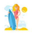 girl with surfing flat style colorful vector image
