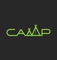 Word Camp logo tent lettering mockup print t-shirt vector image