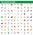 100 guns icons set cartoon style vector image vector image