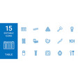 15 table icons vector image vector image