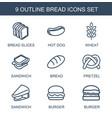 9 bread icons vector image vector image